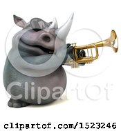 Clipart Of A 3d Reggie Rhinoceros Playing A Trumpet On A White Background Royalty Free Illustration by Julos