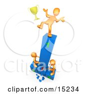 Successful Athlete Slipping And Dropping His Golden Trophy Cup While The Two Runners Up Try To Hack Down The First Place Podium In Revenge Clipart Illustration Image