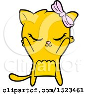 Cute Cartoon Cat With Bow