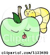Cartoon Pretty Apple And Bug