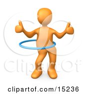 Orange Person Giving Two Thumbs Up While Swinging Their Hips With A Hula Hoop During A Competition