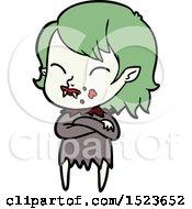 Poster, Art Print Of Cartoon Vampire Girl With Blood On Cheek