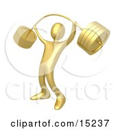 Strong Gold Man Holding Heavy And Bending Barbell Weights Above His Head In A Fitness Gym