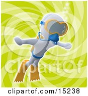 White Person Swimming Underwater While Scuba Diving Wearing Goggles Flippers And An Oxygen Tank Over A Green Background Clipart Illustration Image