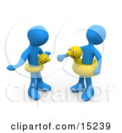 Two Blue People Faching Eachother And Wearing Yellow Inner Tubes With Faces Around Their Waists At The Beach On Summer Vacation Clipart Illustration Image