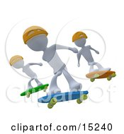 Three White Skateboarders In Yellow Helmets Catching Air All At The Same Time