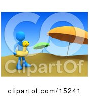 Blue Person Wearing A Yellow Inner Tube With A Face Around Their Waist And Standing By Beach Umbrellas At A Sandy Beach On Summer Vacation Clipart Illustration Image