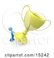 Winning Blue Athlete Person Trying To Move His Giant Gold Trophy Cup