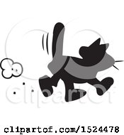 Clipart Of A Black Cat Walking Superstitions Royalty Free Vector Illustration