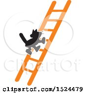 Clipart Of A Black Cat Climbing A Ladder Royalty Free Vector Illustration