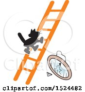 Clipart Of A Superstition Scene Of A Black Cat On A Ladder And A Broken Mirror Royalty Free Vector Illustration