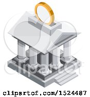 3d Isometric Icon Of A Coin Depositing Into A Bank Building