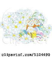 Clipart Of A Cake With Easter Eggs And Daisy Flowers Royalty Free Vector Illustration