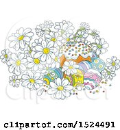 Clipart Of A Cake With Easter Eggs And White Daisy Flowers Royalty Free Vector Illustration