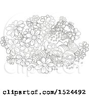 Clipart Of A Black And White Cake With Easter Eggs And Daisy Flowers Royalty Free Vector Illustration by Alex Bannykh