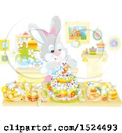 Female Rabbit Making An Easter Cake