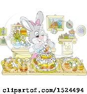 Bunny Rabbit Making An Easter Cake