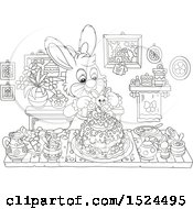 Black And White Bunny Rabbit Making An Easter Cake