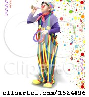 Clown Blowing A Horn And Holding Rings Over Party Confetti And Ribbons