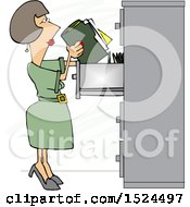 Cartoon Business Woman Office Clerk Filing Folders