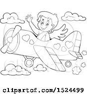 Black And White Valentines Day Cupid Flying A Plane