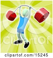 Strong Man Holding Heavy And Bending Red Barbell Weights Above His Head In A Fitness Gym