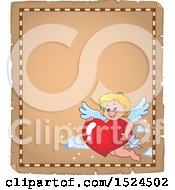 Clipart Of A Valentines Day Cupid Holding A Heart On A Parchment Page Royalty Free Vector Illustration by visekart