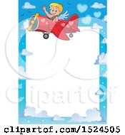 Clipart Of A Valentines Day Cupid Flying A Plane Border Royalty Free Vector Illustration by visekart