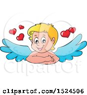 Clipart Of A Valentines Day Cupid With Hearts Royalty Free Vector Illustration