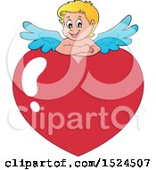 Clipart Of A Valentines Day Cupid Resting On A Heart Royalty Free Vector Illustration by visekart