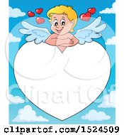 Clipart Of A Valentines Day Cupid Resting On A Heart Border Over Sky Royalty Free Vector Illustration by visekart
