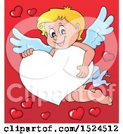 Clipart Of A Valentines Day Cupid Holding On A Heart Border Over Red Royalty Free Vector Illustration by visekart