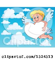 Clipart Of A Valentines Day Cupid Holding On A Heart Border Over Sky Royalty Free Vector Illustration by visekart
