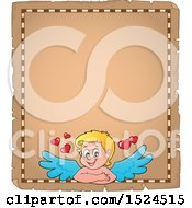 Clipart Of A Valentines Day Cupid On A Parchment Page Royalty Free Vector Illustration by visekart