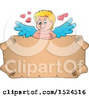 Valentines Day Cupid With A Parchment Scroll