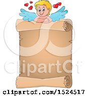 Clipart Of A Valentines Day Cupid With A Parchment Scroll Royalty Free Vector Illustration by visekart