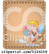 Clipart Of A Valentines Day Cupid Holding A Valentine On A Parchment Page Royalty Free Vector Illustration by visekart