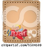 Clipart Of A Valentines Day Cupid Flying A Plane On A Parchment Page Royalty Free Vector Illustration by visekart