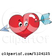 Clipart Of A Red Valentines Day Love Heart Character Struck With Cupids Arrow Royalty Free Vector Illustration