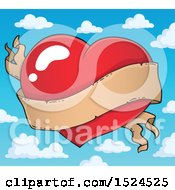 Red Valentines Day Heart With A Ribbon Banner Over Sky