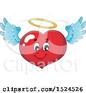 Clipart Of A Red Valentines Day Love Heart Angel Character With A Halo Royalty Free Vector Illustration
