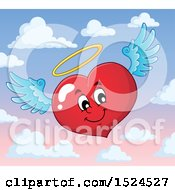 Clipart Of A Red Valentines Day Love Heart Angel Character With A Halo Over Sky Royalty Free Vector Illustration by visekart