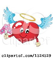 Clipart Of A Red Valentines Day Love Heart Angel Character With A Halo Holding Flowers Royalty Free Vector Illustration by visekart