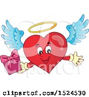 Clipart Of A Red Valentines Day Love Heart Angel Character With A Halo Holding A Gift Royalty Free Vector Illustration by visekart