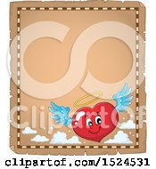 Clipart Of A Red Valentines Day Love Heart Angel Character On A Parchment Page Royalty Free Vector Illustration