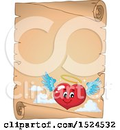 Red Valentines Day Love Heart Angel Character On A Parchment Scroll
