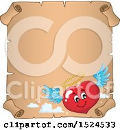 Clipart Of A Red Valentines Day Love Heart Angel Character On A Parchment Scroll Royalty Free Vector Illustration