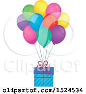 Clipart Of A Gift Floating With Colorful Party Balloons Royalty Free Vector Illustration