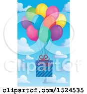 Poster, Art Print Of Present Floating With Colorful Party Balloons Over Sky