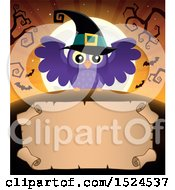 Clipart Of A Parchment Scroll Under A Halloween Witch Owl Full Moon And Bats Royalty Free Vector Illustration by visekart